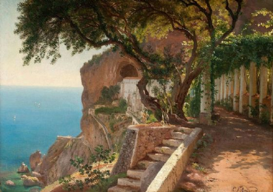 Aagaard, Carl Frederic: View to the Amalfi Coast. Italian Landscape Fine Art Print/Poster. Sizes: A4/A3/A2/A1 (003162)